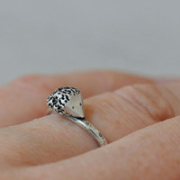 Hedgehog ring, sterling silver ring, hammered curved band, made to order
