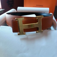 95CM Orange Mens Hermes Belt Leather W/Gold H Buckle
