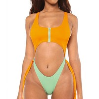 Zipper Bikini Set High Cut Bodysuits One-Piece Swimsuit Female Bathing Suit Hollow Out Monokini Push Up Swimwear Women Bathers