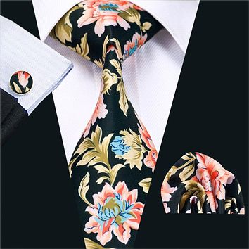 Fashion Print Ties For Men High Quality Design Necktie Handkerchief Cuff links Set For Wedding Party