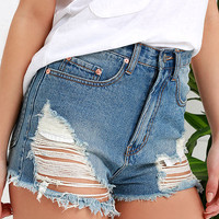 Vinyl Collector Medium Wash Distressed Cutoff Denim Shorts