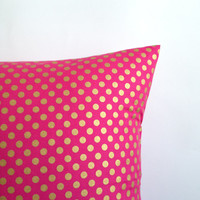 "Pink and Gold Pillow Covers. Set of Two,  18"" x 18"". Sofa Pillow Covers. Pink Gold Polka Dot Toss Pillows. Decorative Throw Pillows."