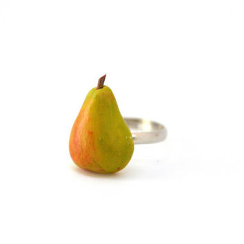 Apple ring,Pear ring,Fruit ring,Fruity ring,Miniature food rings,Miniature food jewelry,Polymer clay jewelry