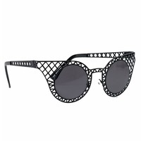 Black Perforated Metal Rounded Sunglasses
