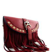 Fringed Faux Leather Cross Body Bag