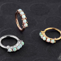 Synthetic White Opal Paved Seamless Ring