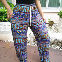 Purple Yoga Pants Wide Leg Harem Boho Style Printed Unisex Casual Aladdin Fisherman Hippie Massage Rayon pants Gypsy Thai Women