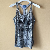 Adidas Woman Running Fitness Yoga Sleeveless Print Flowers Vest