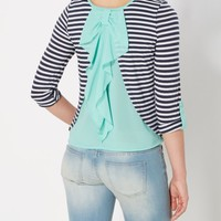 Navy Striped Bow Back Top | Shirts | rue21