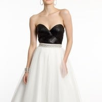 Strapless Colorblock Dress with Sparkling Waist