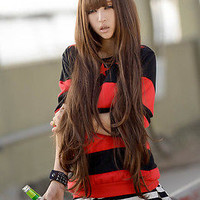 90cm Fashion Womens Ladies Long Curly Wavy Hair Full Wigs Brown Cosplay Party