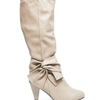 Faux Leather Heeled Bow Boots | Wet Seal