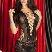 Black Strappy Cut-Out Chemise Lingerie