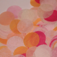 Tissue Paper Confetti, pinks, oranges & ivory, birthday party, wedding, bridal shower, party decorations, baby shower, push pop filler