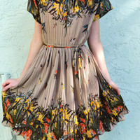 Floral Spring Vintage Dress 50's Knee Length Size Small PCF Petites styled by Hal Ferman
