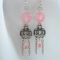 Pink Bead and Chain Chandelier Earrings
