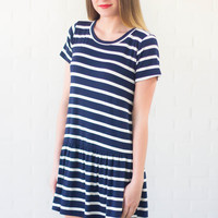 Harbour Town Striped Dress Navy