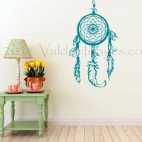 Teal dream catcher wall decal, boho wall decal, wall sticker, dorm room wall decor, bohemian wall decal, bedroom wall decal, teen room decor