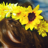 Sunny - Yellow Flower Crown Hippie Headband