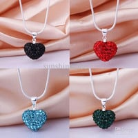 """Christmas Gift 925 Silver Multicolor Charms Crystal Heart Disco Bead Pendant Fit Snake Chain Necklace 18"""""""