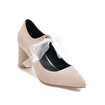 Pointed Toe High Heels Lace-up Bridal Shoes Woman