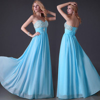 Beading Wedding Evening Ball Gown Formal Prom Birthday Party Long Cocktail Dress