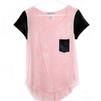 Pink Oversized Tee with Faux Leather Pockets & Shoulders
