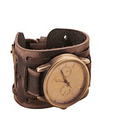 New Retro Punk Rock Brown Big Wide Men PU Leather Bracelet Watches