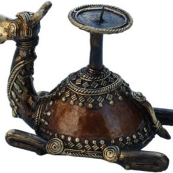 Two in One - Metal Camel Statue with Candle Holder - Collectible Figurine Statue Sculpture Figure from India