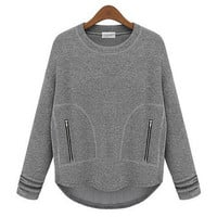 Gray Long Sleeve Zipper Sweatshirt