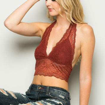 Rust Bee Wrapped In Sunflowers Halter Bralette