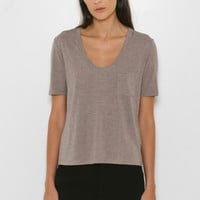 T by Alexander Wang Classic Cropped Tee with Pocket in Taupe | The Dreslyn