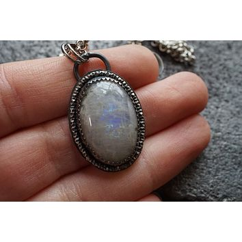 Oval Rainbow Moonstone Pendant Sterling Silver Necklace