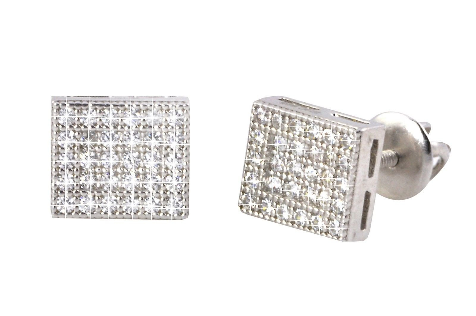 Image of Rectangle Earrings Mens Womens Studs Sterling Silver Screwback Clear CZ 6mmx8mm
