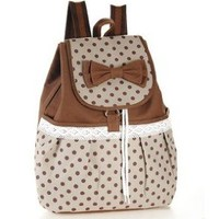 WFY-MALL(TM) Lovely Sweet Bowknot Leisure Canvas Backpack for Student (Brown)