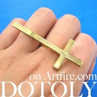 Large Adjustable Cross Shaped Statement Ring in Shiny Gold | DOTOLY