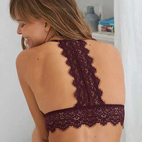 Aerie Lace Triangle Bralette, Deep Plum
