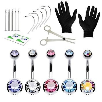 20PC Professional Piercing Kit Multicolor Steel 14G Double CZ Belly Navel Ring Body Piercing Set