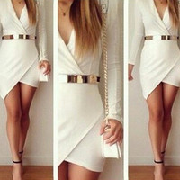 SIMPLE - Women Fashionable Sexy White Cross Design Nightclub One Piece Dress a10766