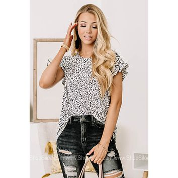 Your Imagination Cheetah Print Butterfly Sleeve Top
