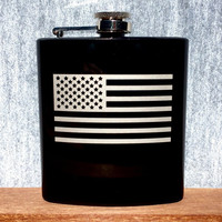 Stainless Steel Flask, American Flag Design, 6oz (Gloss Black)