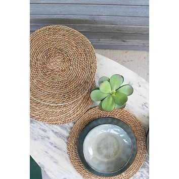 "15"" Round Seagrass Place Mats - Set Of 6"