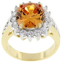 Kate Champagne Cambridge Cocktail Gold Ring | 7ct