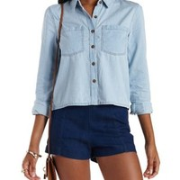 Lt Wash Denim Cropped Denim Chambray Button-Up Top by Charlotte Russe