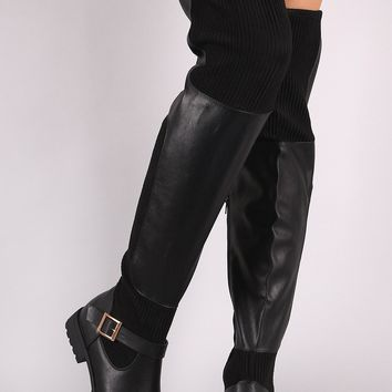 Bamboo Leather Ribbed Knit Buckled Over-The-Knee Riding Boots