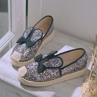New Pink Round Toe Flat Sequin Bow Cute Ankle Shoes