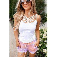 Seamless Criss Cross Cami (White)
