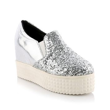 Women's Sequined Platform Wedges Casual Shoes