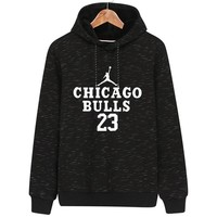 NIKE AIR JORDAN autumn and winter classic flying man print hooded pullover sports sweater Black