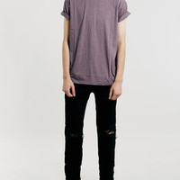 BLACK PLUM MARL ROLLER CREW NECK T-SHIRT